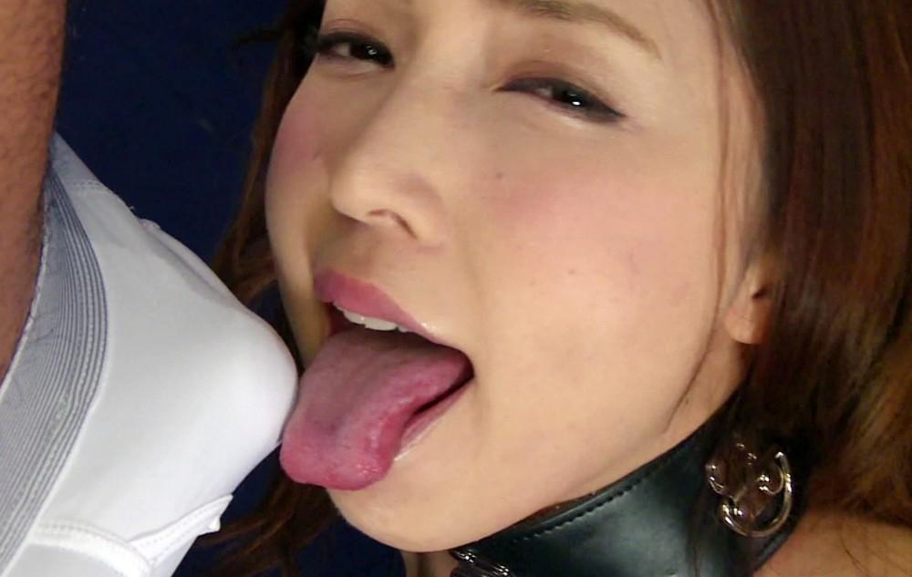美波ねいの舌出しフェラ・舌射 (1)
