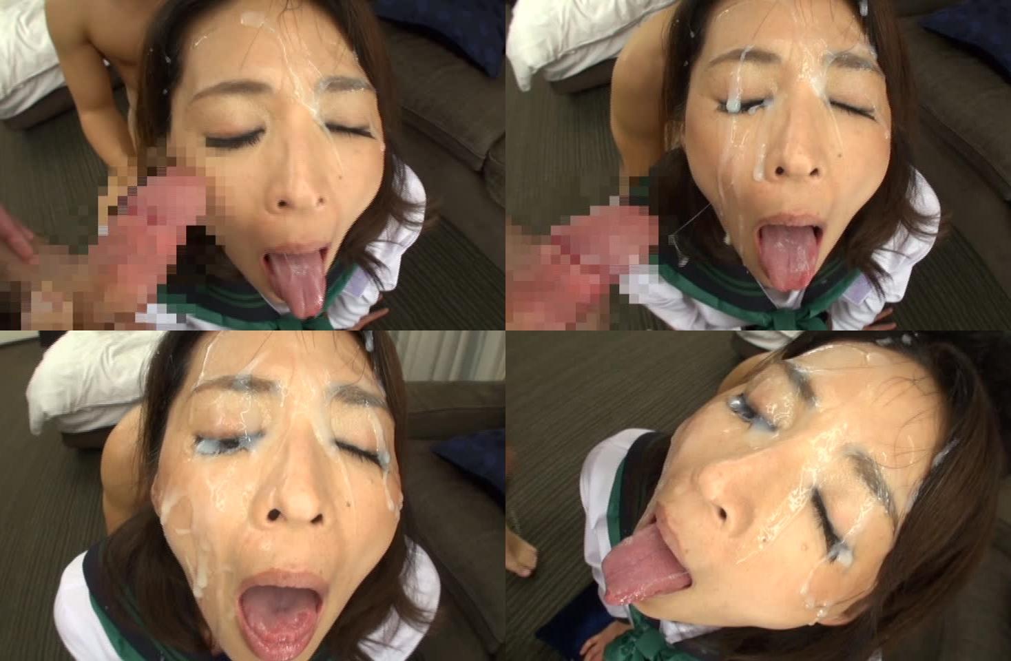 矢部寿恵の舌出しブッカケ (3)