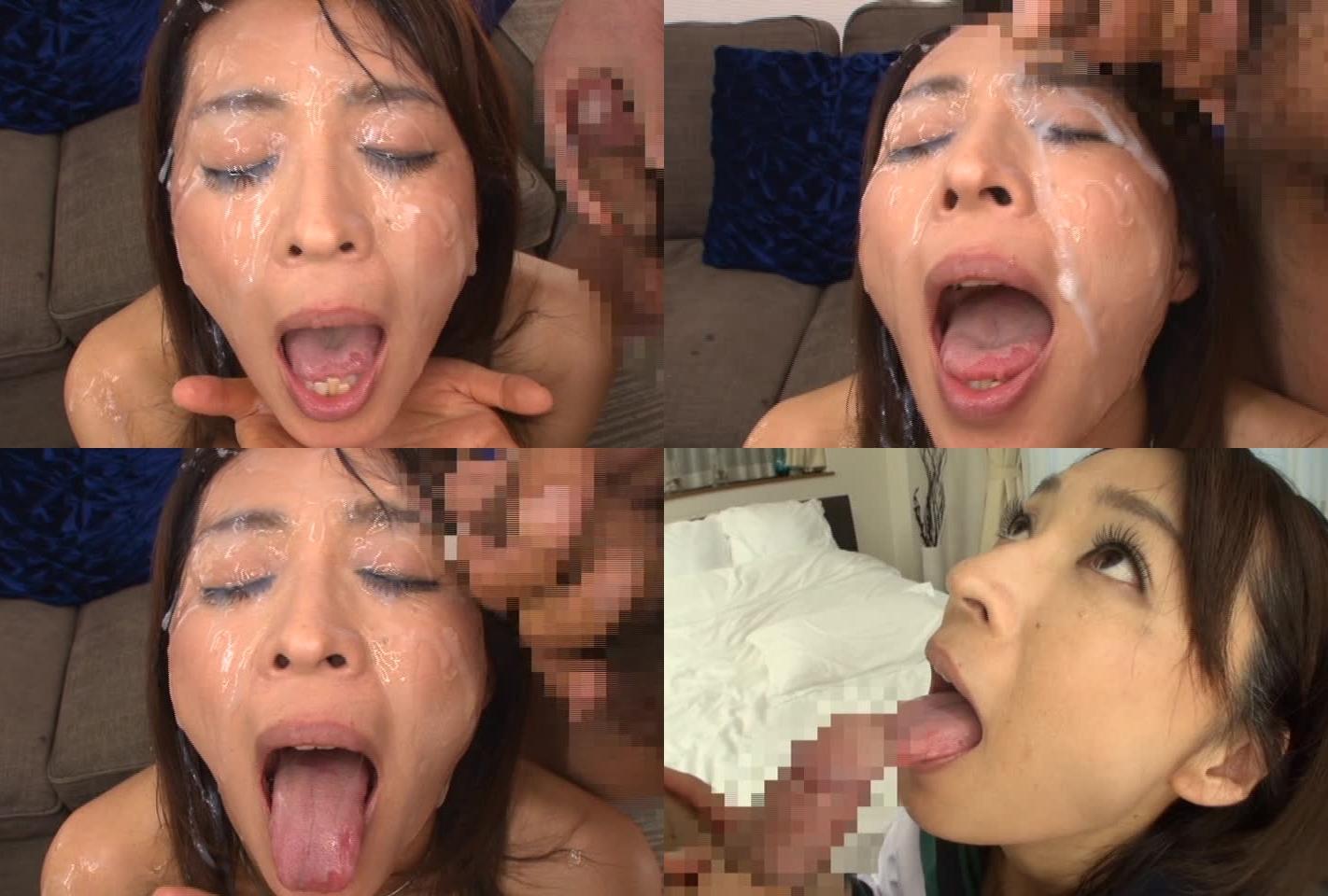 矢部寿恵の舌出しブッカケ (2)