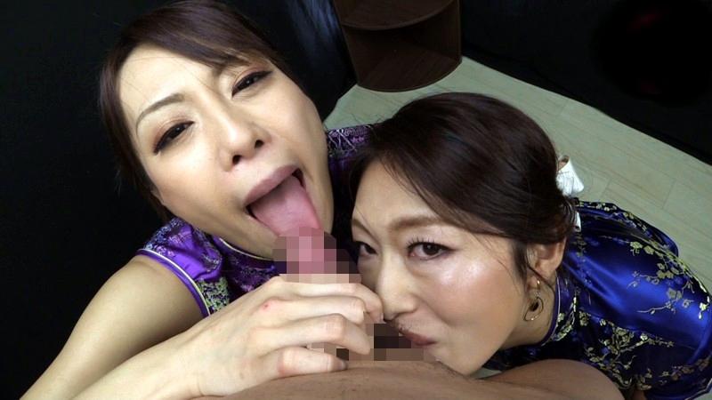 小早川怜子・広瀬奈々美の舌出しフェラ (1)