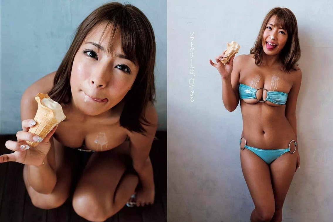 橋本梨菜の疑似フェラアイス舐め (1)