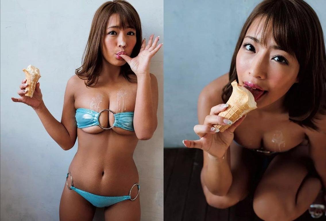 橋本梨菜の疑似フェラアイス舐め (2)