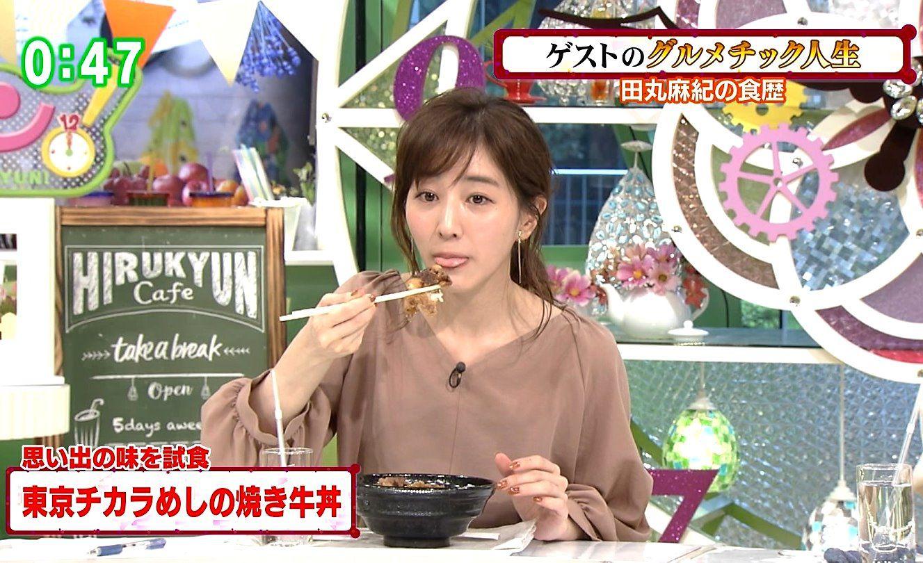 田中みな実の糸引き食事舌 (2)