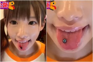 椎名ひかりのピアス舌
