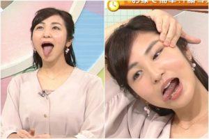 朝田夢子の顔ヨガ舌出し
