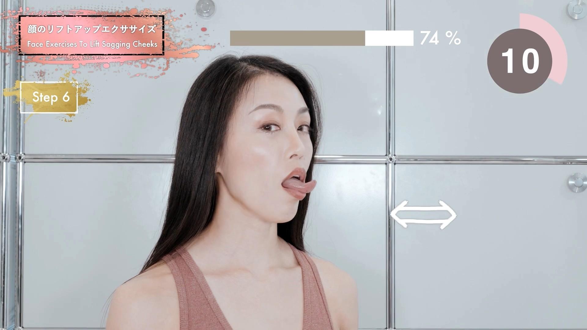 四十路美魔女の腋見せ舌トレ (6)